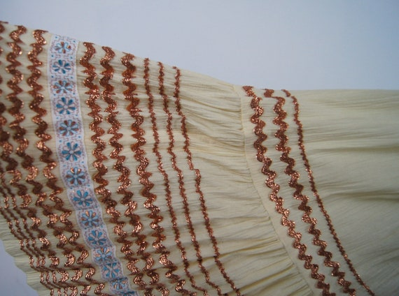 Vintage 1950s Pleated Ivory Full Skirt with Coppe… - image 2