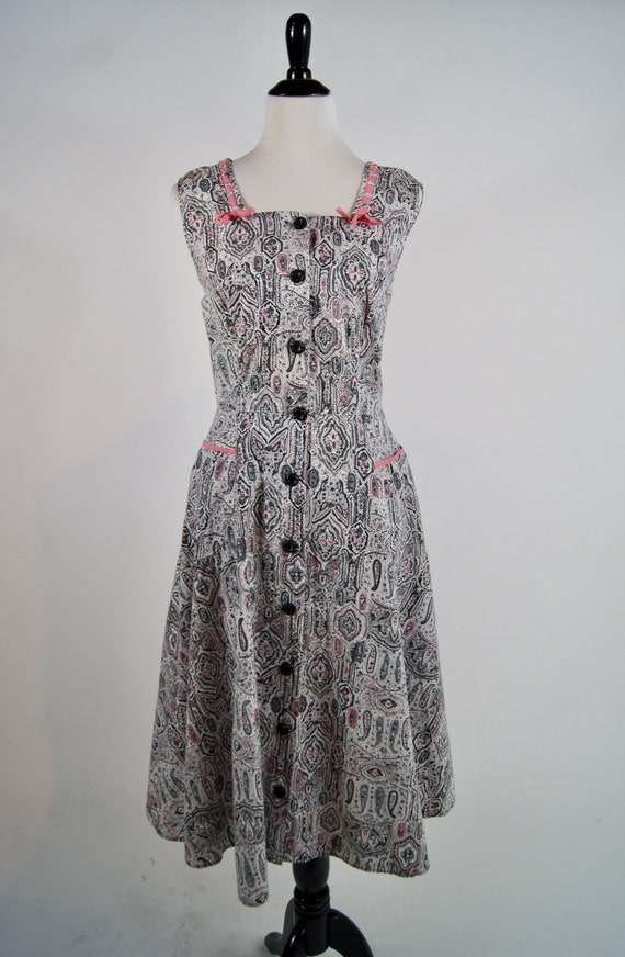 Vintage Kenrose Grey Paisley Cotton Day Dress with