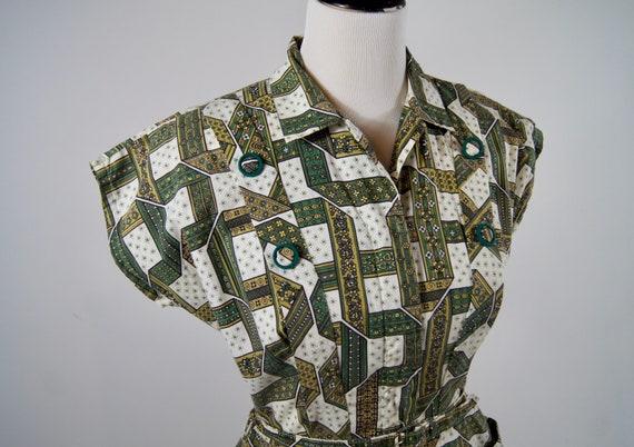 Vintage 1950s Kenrose Green Full Zip Cotton Day D… - image 3