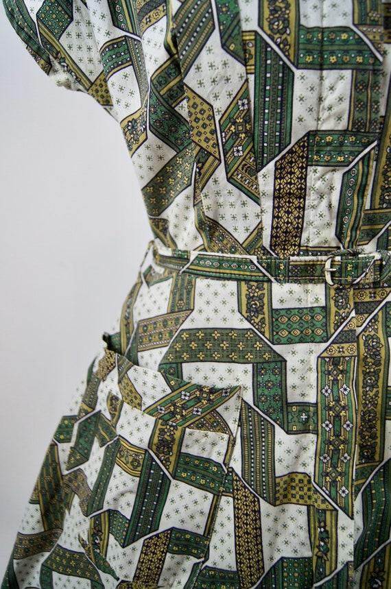Vintage 1950s Kenrose Green Full Zip Cotton Day D… - image 4