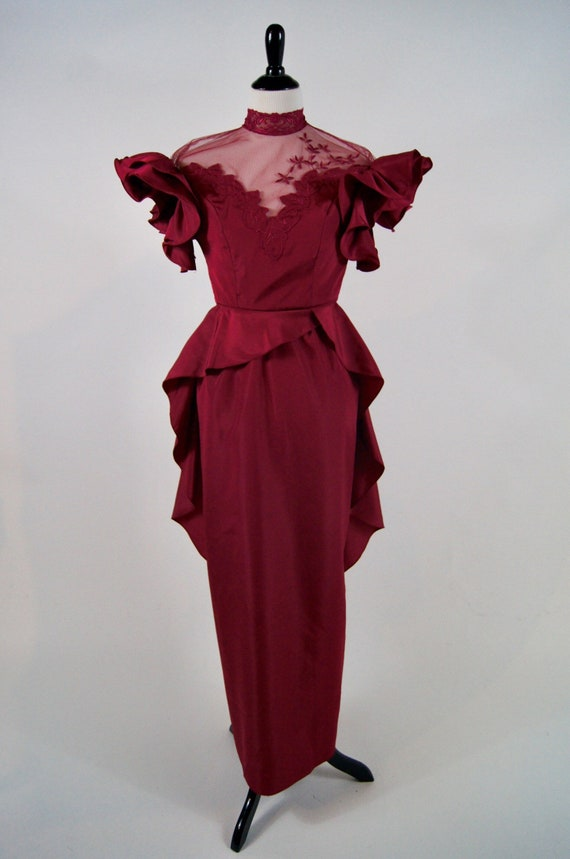 Vintage 1980s does 40s Raspberry Peplum Gown with