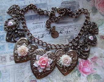 Oven Patina Brass MockiDesigns Guilloche Heart Pendant Necklace Gift Wrapped Heart Necklace Vintage Bead Chain Brass Heart