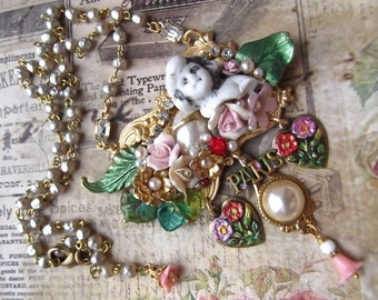 Verdigris Guilloche Heart Czech Glass Leaves Vintage Buds /& Dragonfly Chandelier Dangle Earrings