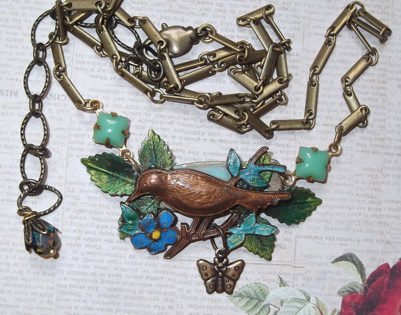 Gingerbread Patina Vintage Brass Bird On a Branch With Butterfly Dangle and Vintage German Stones and Chain