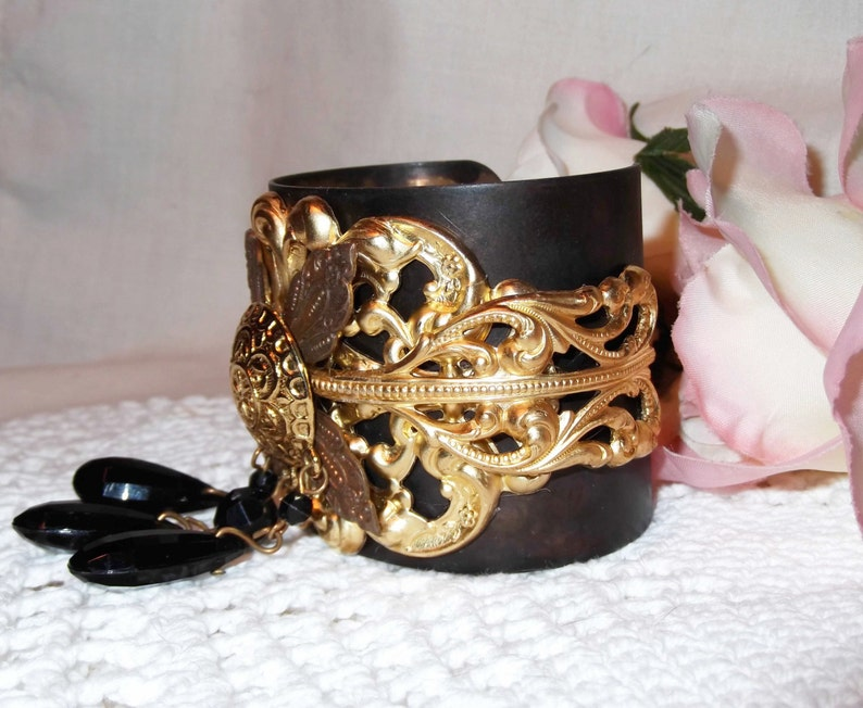 Vintage Earring Focal Multilayer Cuff Black Patina Cuff,Cuff With Arrow MockiDesigns,Gift Wrap Included Black and Gold Layered Brass