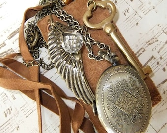 Memory Book Multi Chain Necklace with Multi Charms and Watch