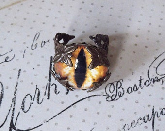 Creature Eye Chocolate Ox Riveted Adjustable Ring