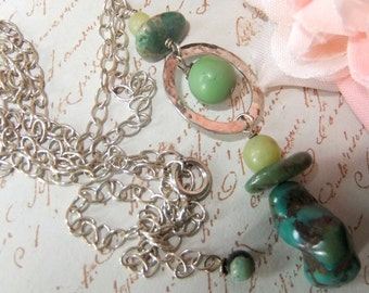 Sterling Silver,Hammered Circle,Turquoise Necklace,Serpentine,Semi Precious, Green and Silver,Adjustable Sterling,Mockidesigns,Gift Wrapped
