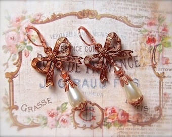 Bow and Pearl Drop, Gingerbread Dangle, BSue by 1928, Pearldrop Leverbacks, Faux Pearl & Bow, Gingerbread Bow, Gingerbread 1928, Pearl Drops