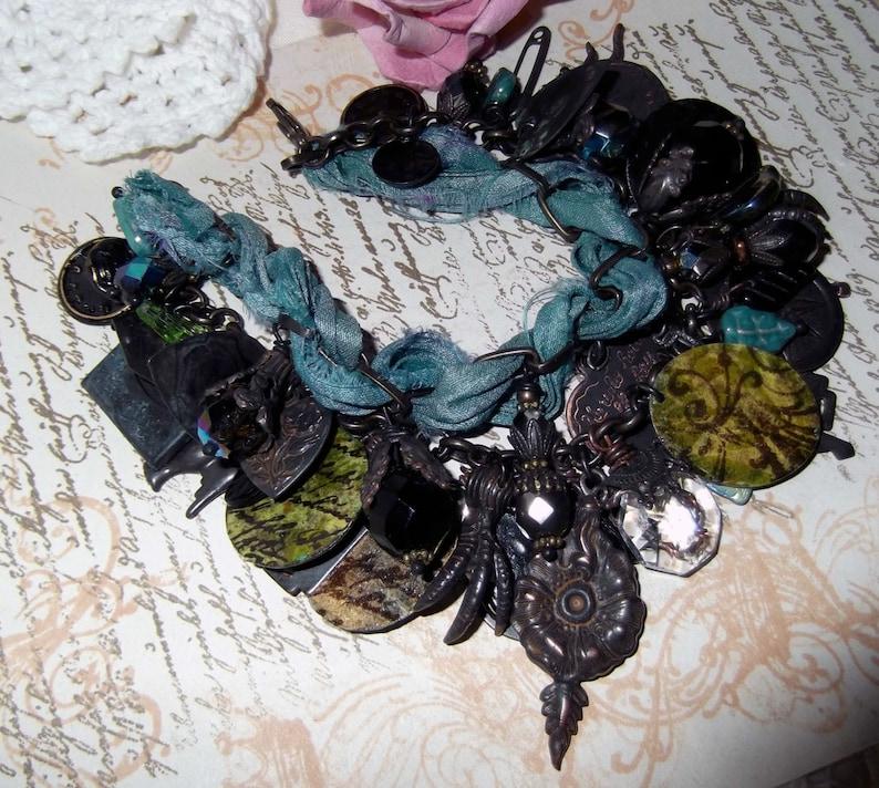 Czech Leaves,Decoupage,Gift Wrapped Rusty Black,Aqua /& Black Charm Necklace Sari Silk Charm BraceletNecklace Overloaded Charm Bracelet