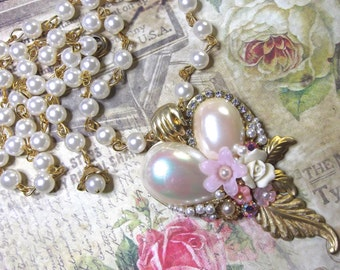 Rosary Chain, Pearl Cabochon, Floral Assemblage, Heart Necklace, Pearl Heart, Heart Assemblage, Faux Pearl Heart, Romantic Heart