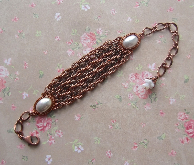 Vintage Copper Chain Gift Wrapped Multi Chain MockiDesigns Gingerbread /& Copper Adjustable Copper and Pearl Gingerbread BSue by 1928
