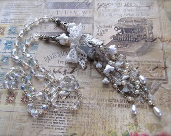 Padlock Necklace, Long Tassel Padlock, BSue by 1928, White Padlock Tassel, Rosary Chain Tassel, Pearl & Crystal,Czech Bell Caps,Rosary Chain