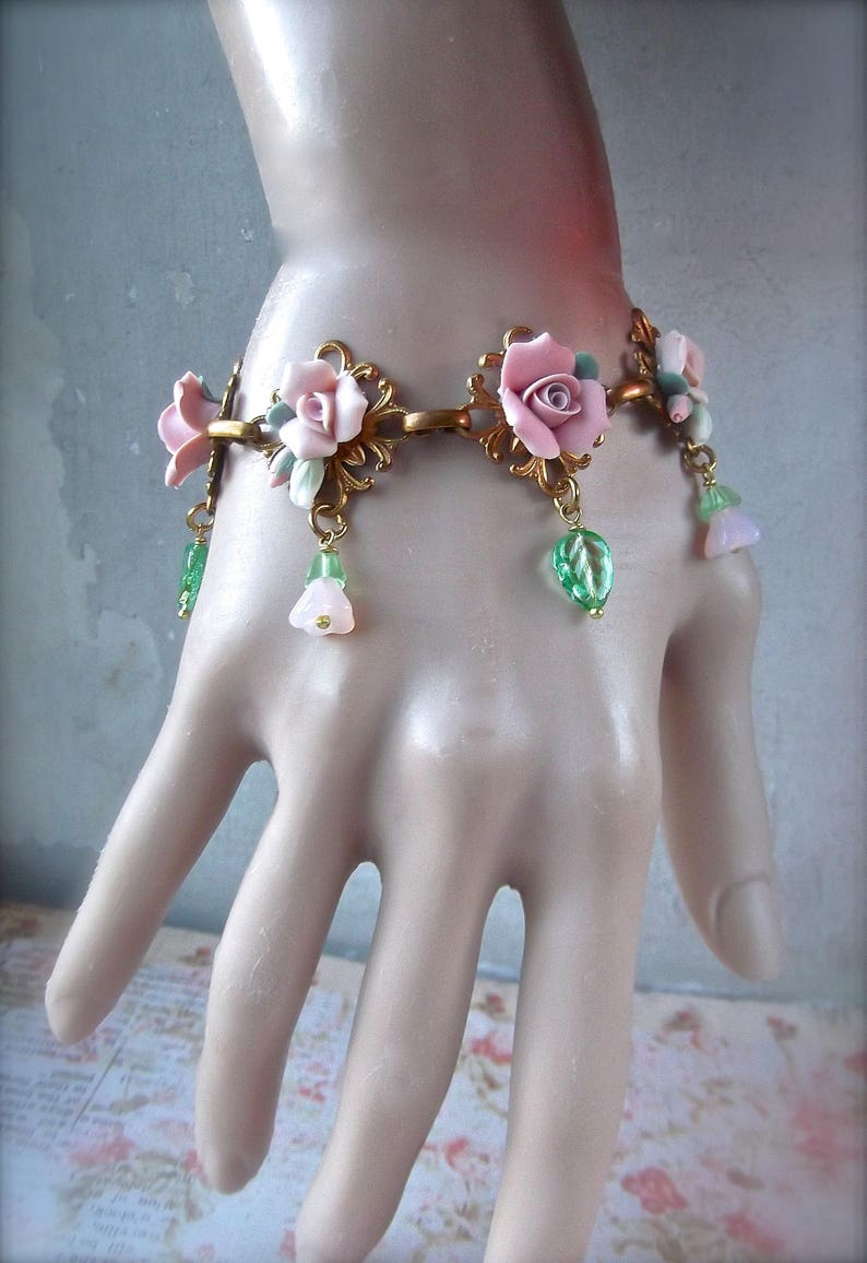 Brass Filigree Bracelet Vintage Ceramic Roses,Czech Bell Caps,Czech Glass,Romantic Flowers,Rose Bracelet Vintage Brass Filigree and Roses
