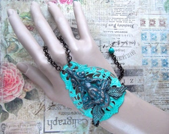 Verdigris Bracelet, Masthead Maiden, Bohemian Filigree, Brass Filigree, Slave Bracelet, Figurehead, Steampunk, Neoclassical, Winged Maiden