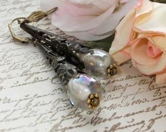 SALE Aurora Borealis Glass Bead in Blackened Antique Brass Filigree Cone