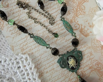 Verdigris Necklace,Black Glass Necklace,Black White Cameo,Verdigris Floral Cameo,Verdigris Brass,Green and Black, MockiDesigns, Gift Wrapped