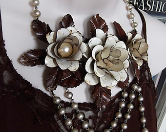 Rose Bib, Floral Bib, Metal and Vintage Rosary Bead, Rustic Flowers, Shabby Necklace
