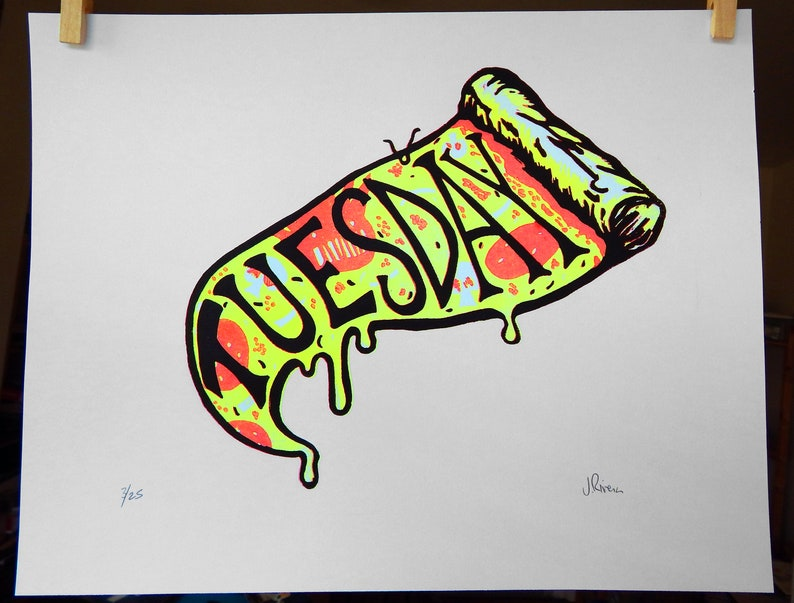 11x14 Ween reduction linocut Tuesday is Pizza Day