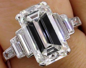 Impressive Art Deco GIA 4.37ct Emerald Cut Diamond Vintage Engagement Wedding Platinum Ring