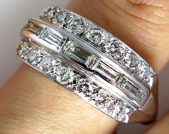Retro ,circa1950...Estate Vintage 1.20ct Wide Diamond Baguette and Round Wedding Anniversary Band, Right Hand Ring 14k White Gold
