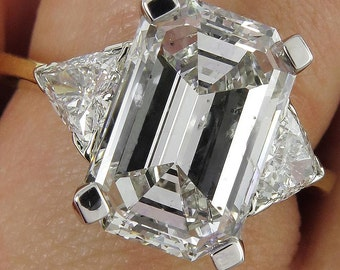 Estate GIA 5.51ct Emerald Cut Three Stone Diamond Engagement Wedding Platinum 18k Ring