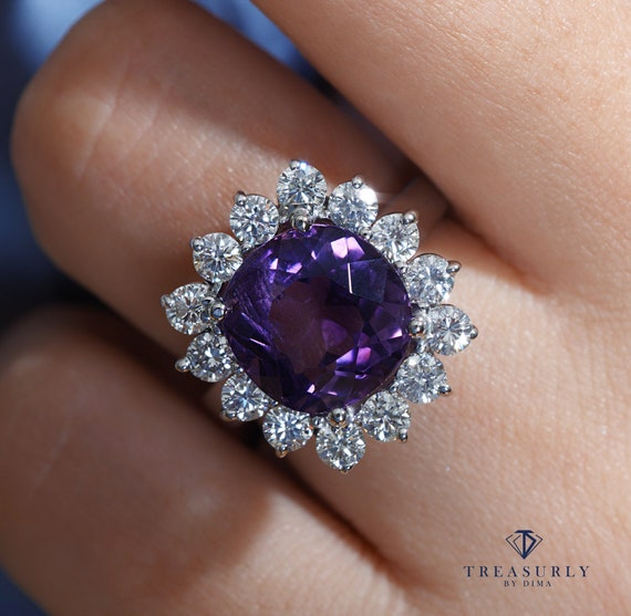 Estate 8.18ct Deep Purple Natural Amethyst Diamond