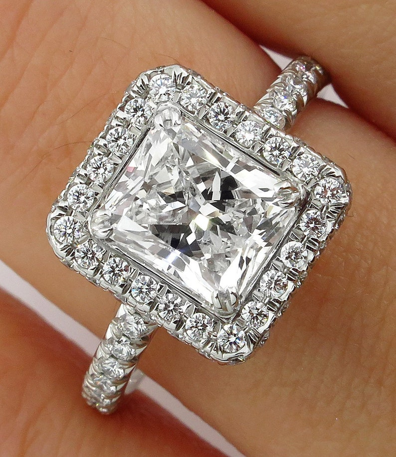 Bright 2.54ct Princess Cut Diamond Engagement Ring Wedding Band 14k Solid Rose Gold Fine Rings Jewelry & Watches