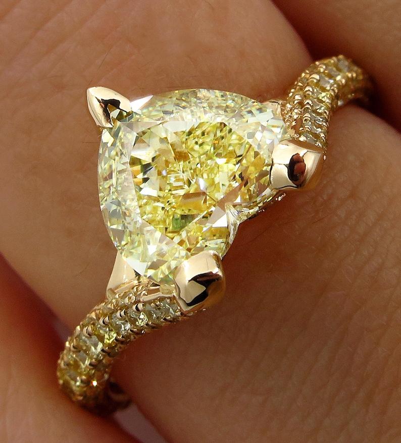 3127bfed423c81 GIA 2.71ct Natural Fancy Yellow VVS2 HEART Shape Diamond | Etsy