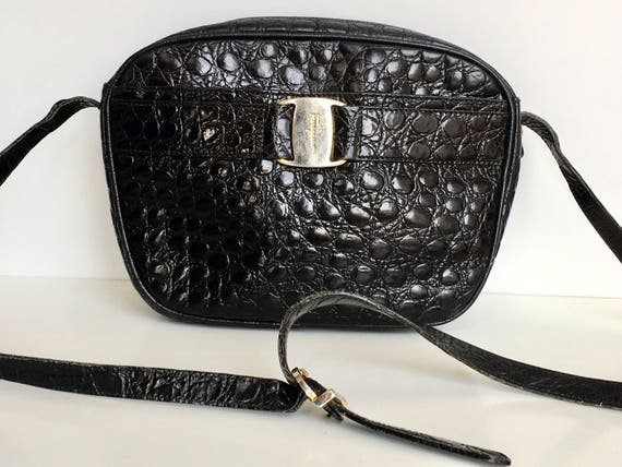2d6c8aa0ebc Vintage Black Salvatore Ferragamo Crossbody Bag Croc Embossed   Etsy