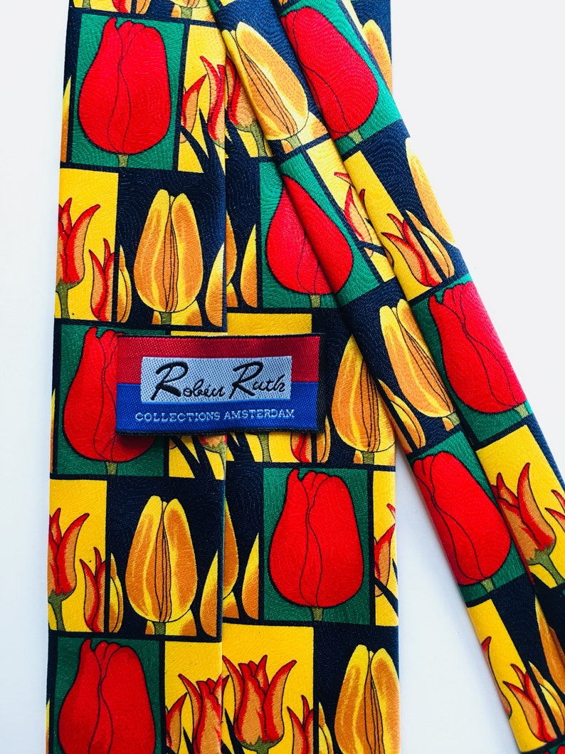 Green Thumb Herbs Flower Tie Amsterdam Floral Tie Netherlands Gardening Tulip Festival Vintage Floral Tulip Tie Gifts for Him