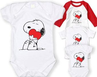 86c75db190 NEW Baby valentine Snoopy Heart Screen Printed Tshirt Peanuts One-Piece Baby  boy Bodysuit Romper ALL SIZES