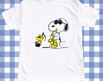 c571a34323 NEW Snoopy Music Screen Printed Tshirt Peanuts One-Piece Newborn Custom T-Shirt  Baby boy Bodysuit Romper ALL SIZES