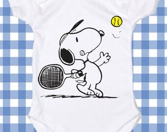 8ca116e7d0 NEW Snoopy Tennis Screen Printed Tshirt Peanuts One-Piece Newborn Custom T-Shirt  Baby boy Bodysuit Romper ALL SIZES