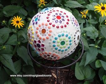 Mosaic Bowling Ball, Garden Bowling Ball, Gazing Ball, Mosaic Garden Art,  Mosaic Gazing Ball