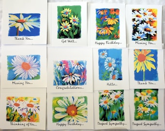 Wild Burst of Color of Daisies - Notecards