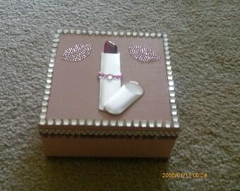 Bling lipstick jewelry/keepsake/memory box
