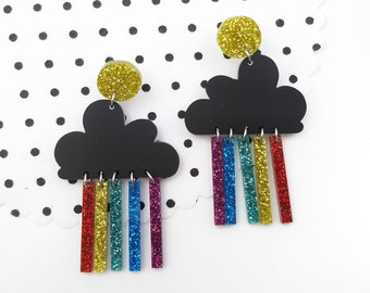 Glitter rainbow cloud earrings