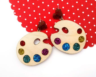 Glitter rainbow paint palette statement earrings