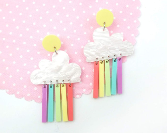 Featured listing image: Pastel rainbow cloud earrings