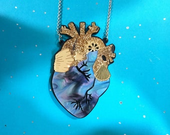 Galaxy perspex anatomical heart brooch
