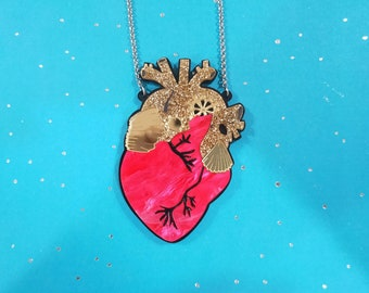 Red Anatomical heart brooch or necklace