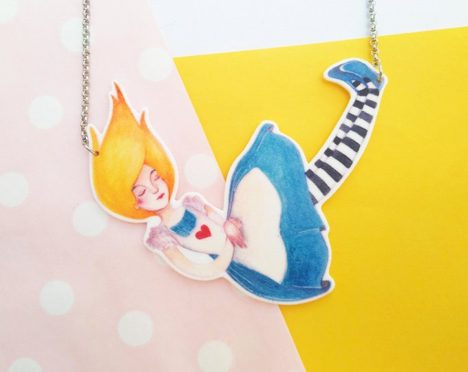 Featured listing image: Alice in Wonderland, fairy tale illustration necklace