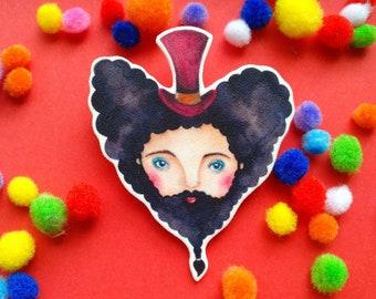 Bearded lady brooch