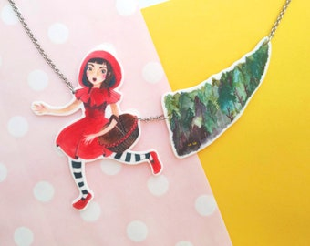 Little red riding hood, fairy tale illustration necklace