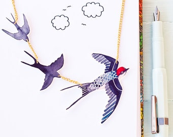 Flying swallows statement necklace