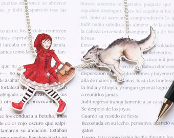 SALE Little red riding hood necklace