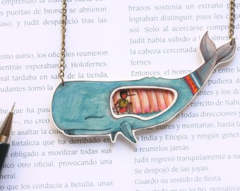 SALE Pinocchio in the whale's belly necklace