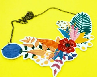 Giant flower statement necklace