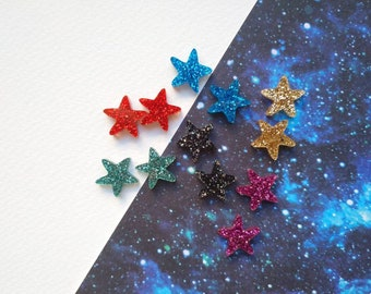 Little glitter star stud earrings